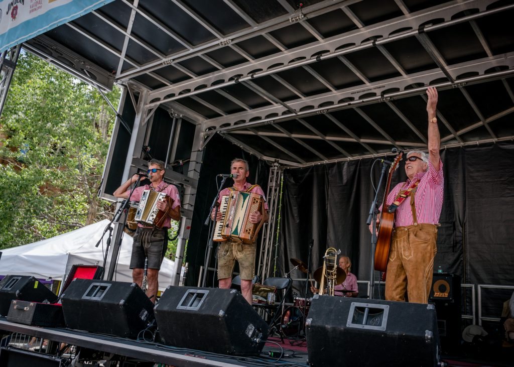Image of band on the Oktoberfest stage during Keystone's celebration of Oktoberfest that takes place each September
