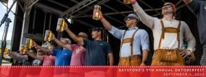 Men compete in the stein-hoisting competition at Keystone Oktoberfest