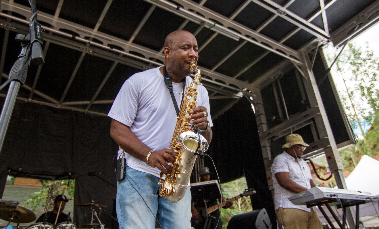 saxophone player at wine and jazz festival